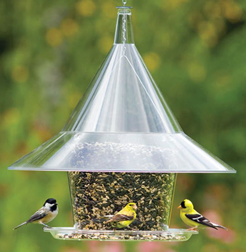 plastic bird feeder with large dome on top