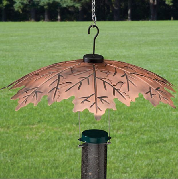Leaf shaped copper baffle for a bird feeder